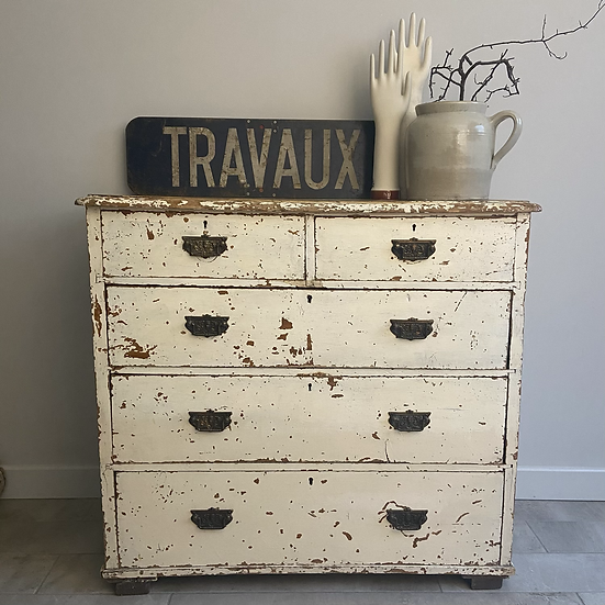 White Vintage Chippy Drawers 2 over 3