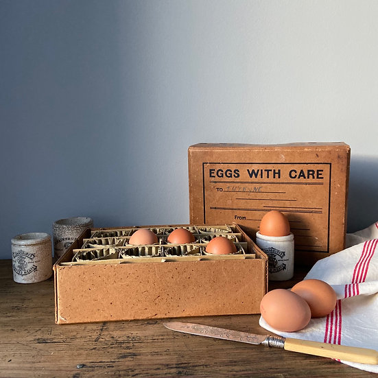Vintage Egg Postage Box with Sectional Inner