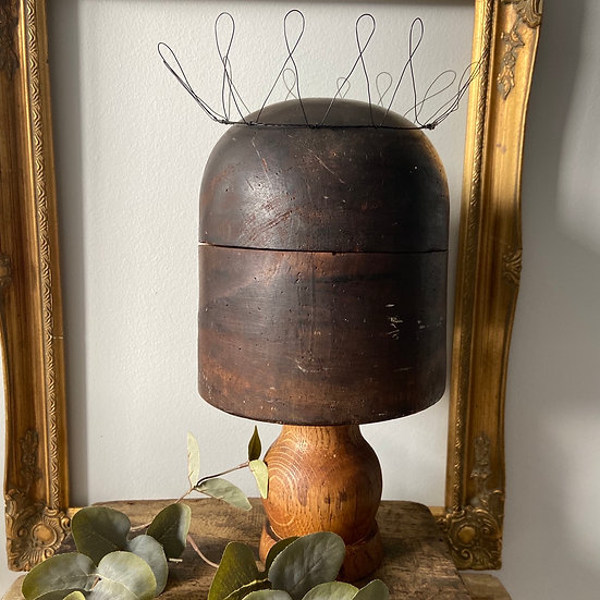 Large French Heavy Wooden Hat Mould