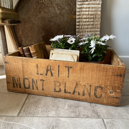 Vintage Wooden French Milk Delivery Crate #1