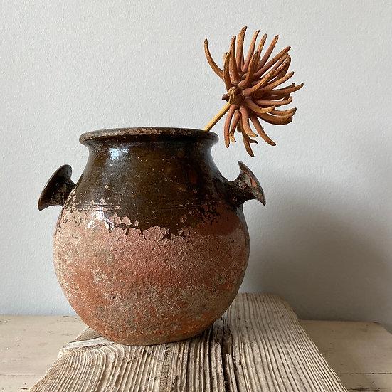 Gorgeous Vintage Bulgarian Half Glazed Pot