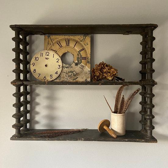 Vintage French Rustic Handmade Bobbin Shelf