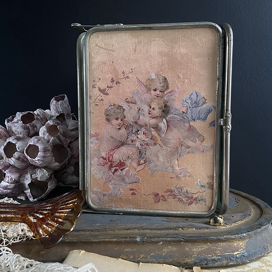 French Boudoir Mirror. Decorated with Silk Depicting Cherubs