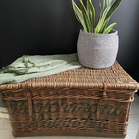 Vintage Laundry Hamper with Unusual Typography