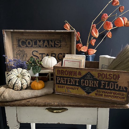 Fabulous Vintage Coleman's Starch Box Ideal Wall Hung Shelf
