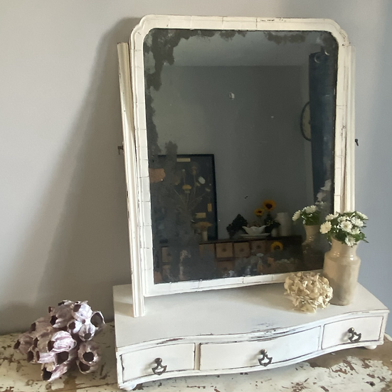 Antique Painted Tilting Dressing Table Mirror With Drawers