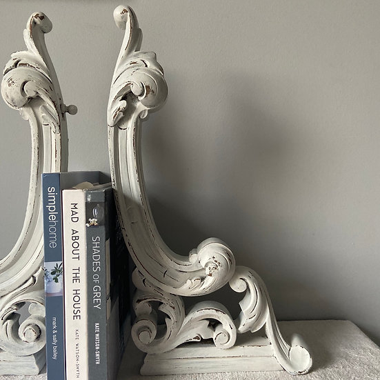Pair of White Painted Vintage Wooden Scrolls