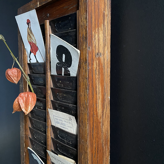 Vintage Wooden Framed Double Clocking In/Out Card Holder