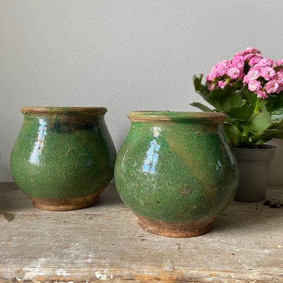 A Pair of Green Handmade Hungarian Pots