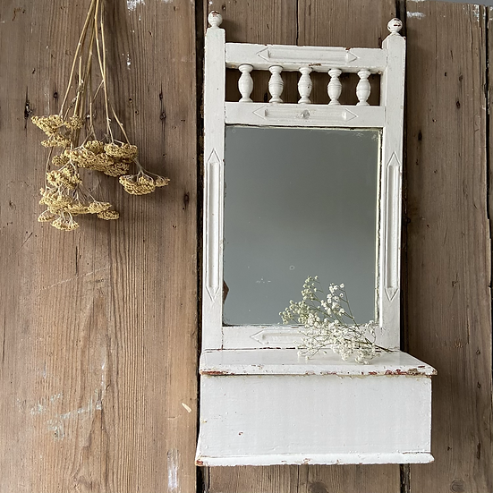 Vintage Chippy Paint Mirror and Candle Box