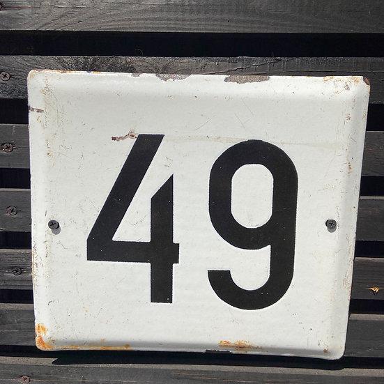 Large Vintage Enamel Number 49