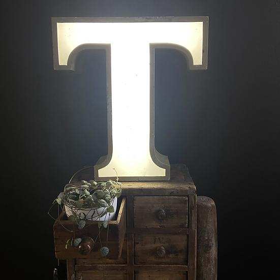 Illuminated Vintage Shop Sign Letter T