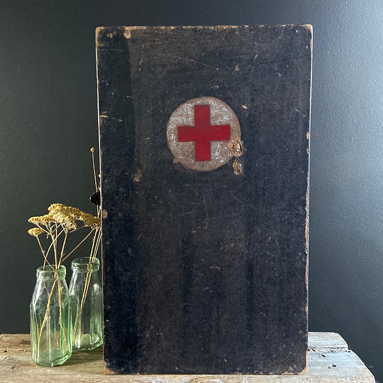 Large Vintage Industrial First Aid Cabinet