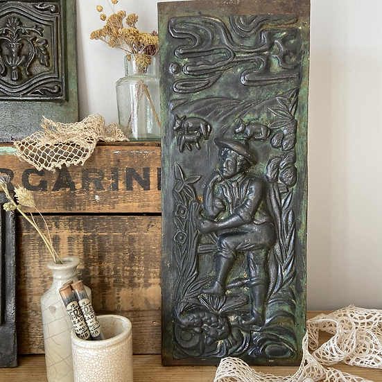 Victorian Antique Cast Iron Panel in Relief Depicting a Farmer