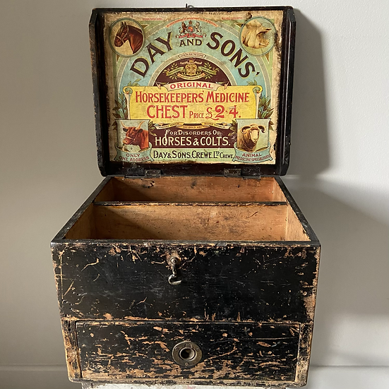 Day & Sons Stock Horsekeepers Medicine Chest with Drawer c.1920's