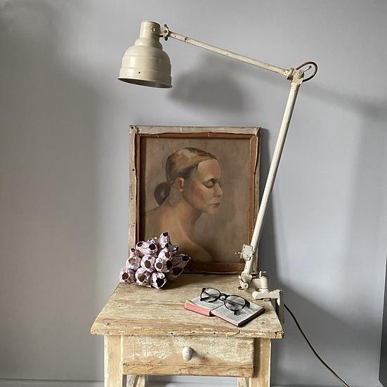 Vintage Adjustable Long Arm Machinists Lamp