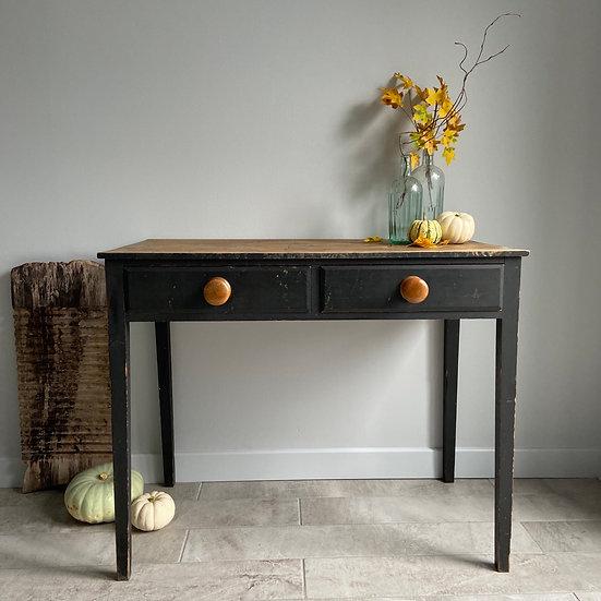 Stunning Black Victorian 2 Drawer Table