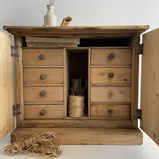 Fabulous Rustic Table Top Cupboard With 8 Drawers
