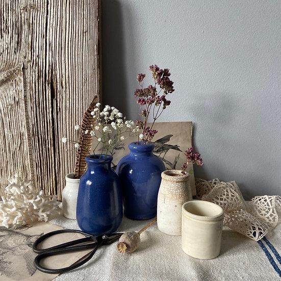 Set of Five Beautiful Vintage Stoneware Bottles & Jars