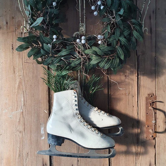 White Vintage Ice Skate Boots