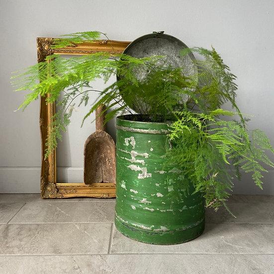 Large Vintage Green Lidded Tin Canister