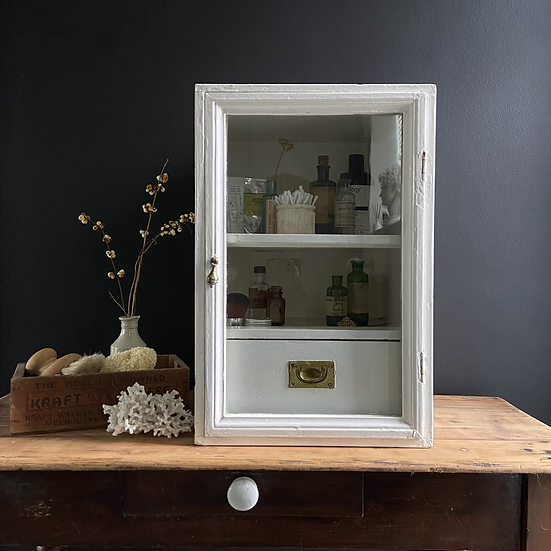 Unusual Vintage Glass Fronted Wall Display Cabinet with Drawer