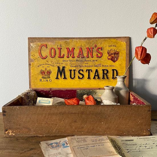 Large Vintage Wooden Coleman's Mustard Box