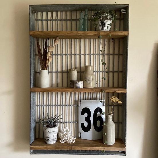Vintage Industrial Galvanised Repurposed Crate Shelving
