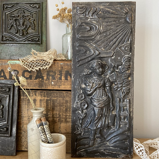 Victorian Antique Cast Iron Panel in Relief (Woman)