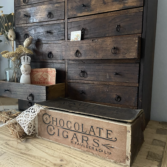 Vintage Wood and Cardboard Shop Delivery and Display Box