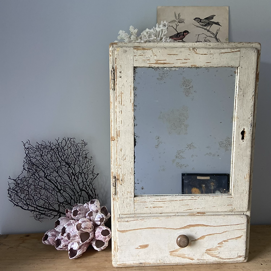 Chippy Paint Chunky Vintage Mirrored Cupboard