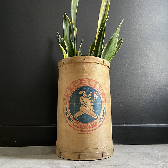 Large Vintage French Bentwood Food Canister