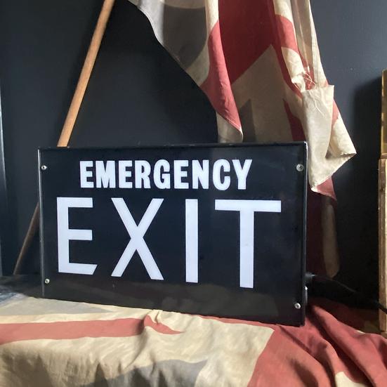 Large Black Vintage Emergency EXIT Light Box Lamp