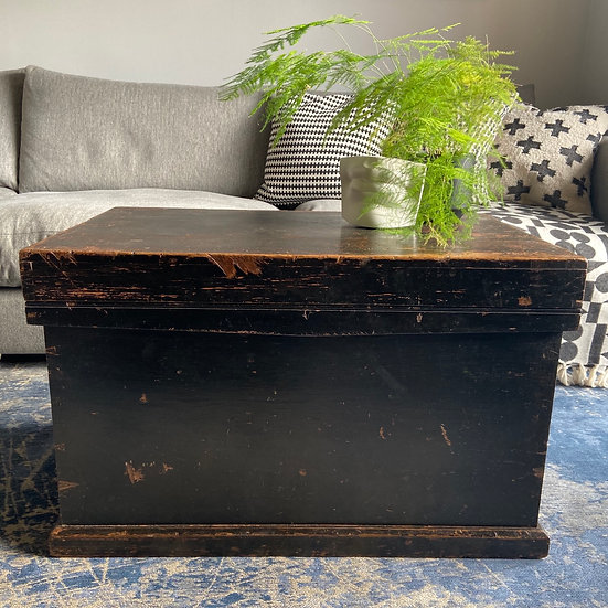 Ebonised Vintage Carpenters Trunk with Interior Trays