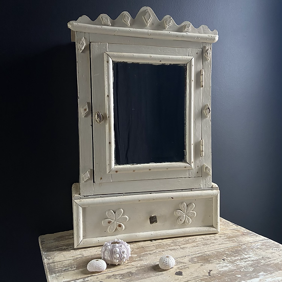 A Unique French Tramp Art Style Mirrored Cabinet