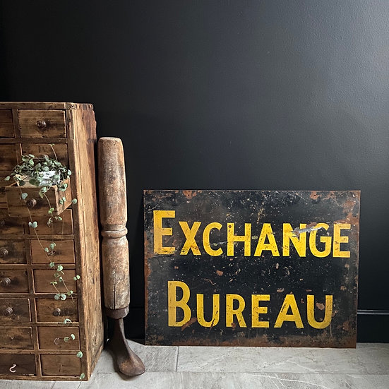 Vintage Metal EXCHANGE BUREAU Sign