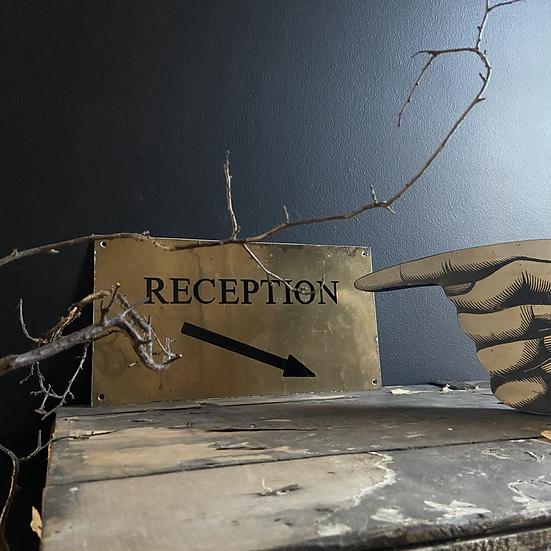 Vintage Brass Reception Sign