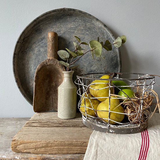 Small Rustic Vintage Brocante Style Wire Basket