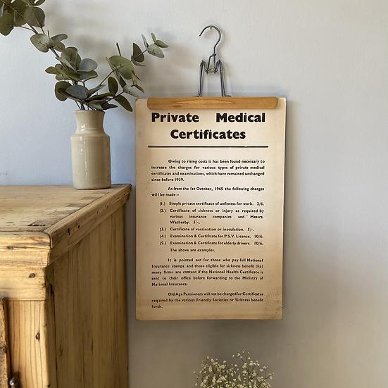Vintage 1965 Private Medical Certificates Sign