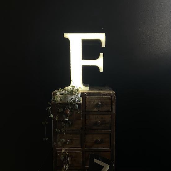 Vintage Illuminated Shop Sign Letter F