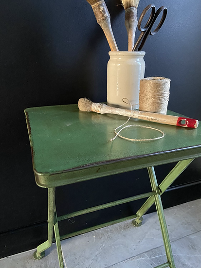 Tall Square Vintage Green Metal Folding Table