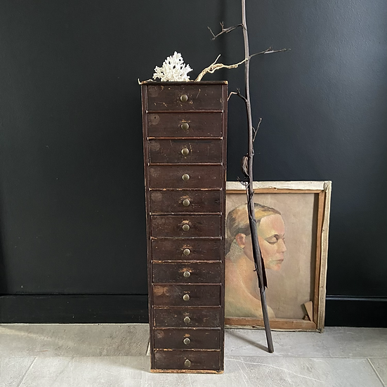 Stunning Tall Wooden Vintage Collectors Drawers