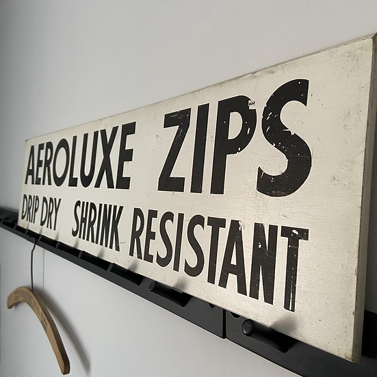 Vintage Wooden Hand Painted AEROLUXE ZIPS sign