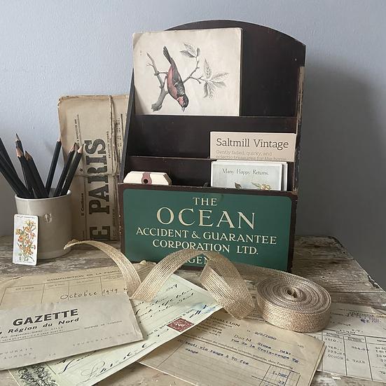Vintage Insurance Office Letter and Pamphlet Holder