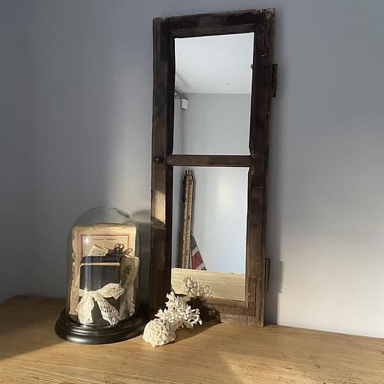 Tall Vintage Wooden Window Mirror
