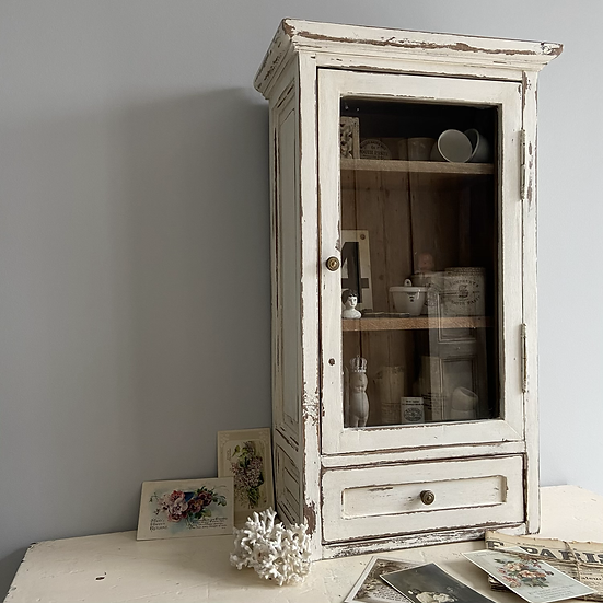Tall Heavy Oak Painted French Glazed Cabinet and Drawer
