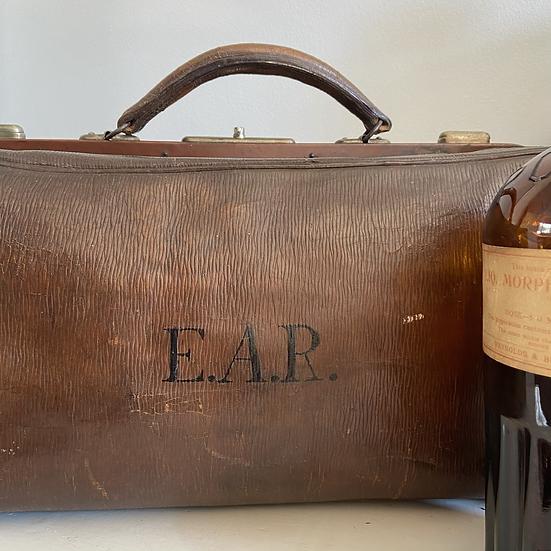 A Wonderful Vintage Leather Monogrammed Dr's Gladstone Bag
