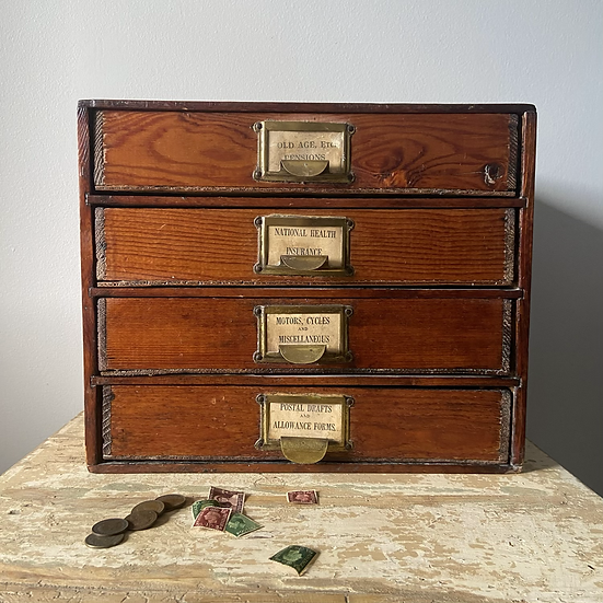 Vintage Post Office Counter Top Drawers