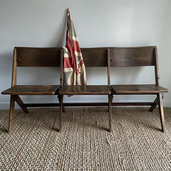 Antique Oak Classic Folding Three Seat Chapel Bench