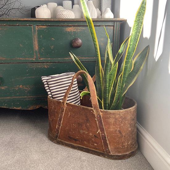 Vintage Rigid Canvas Workman's Bag Rustic Storage